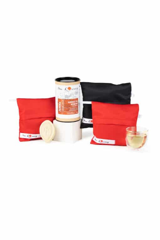 washable menstrual panties and intimate soap and herbal tea for menstrual cramps