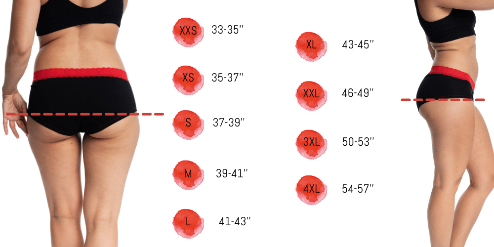 Size chart mme l'ovary period underwear